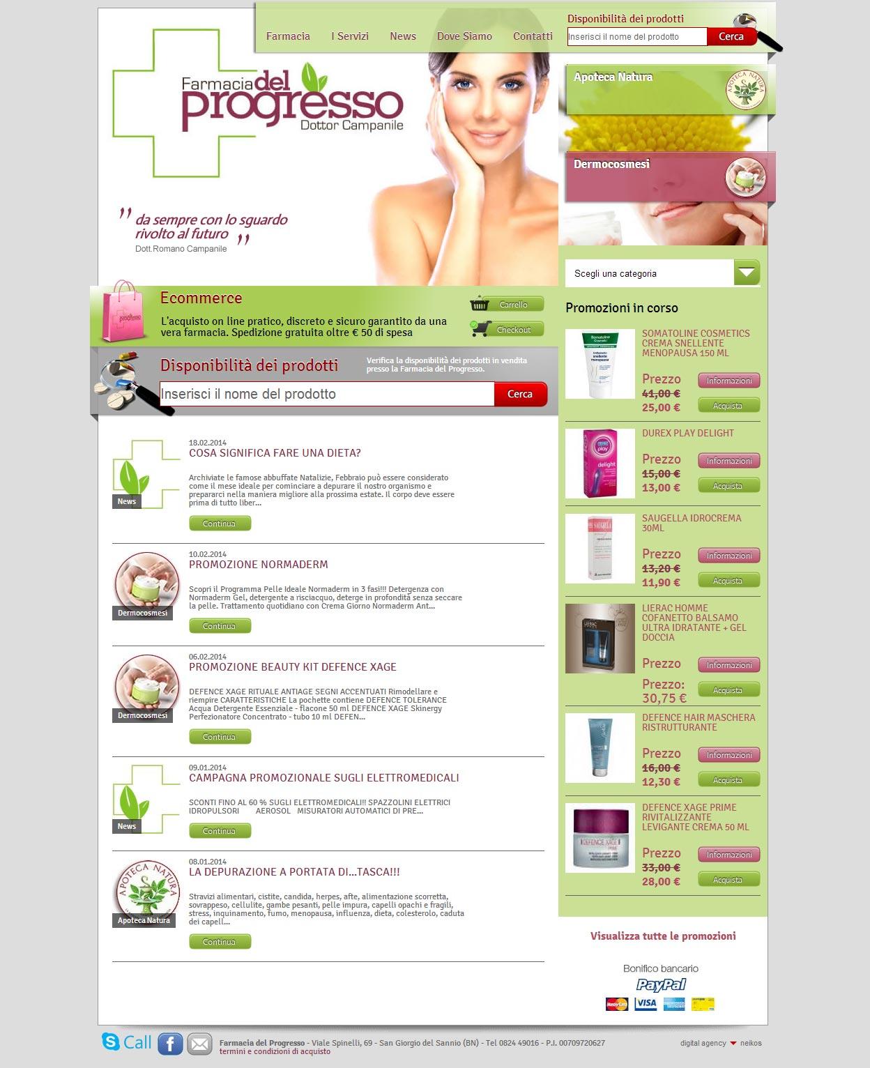 Farmacia del Progresso, catalogo online cosmetici