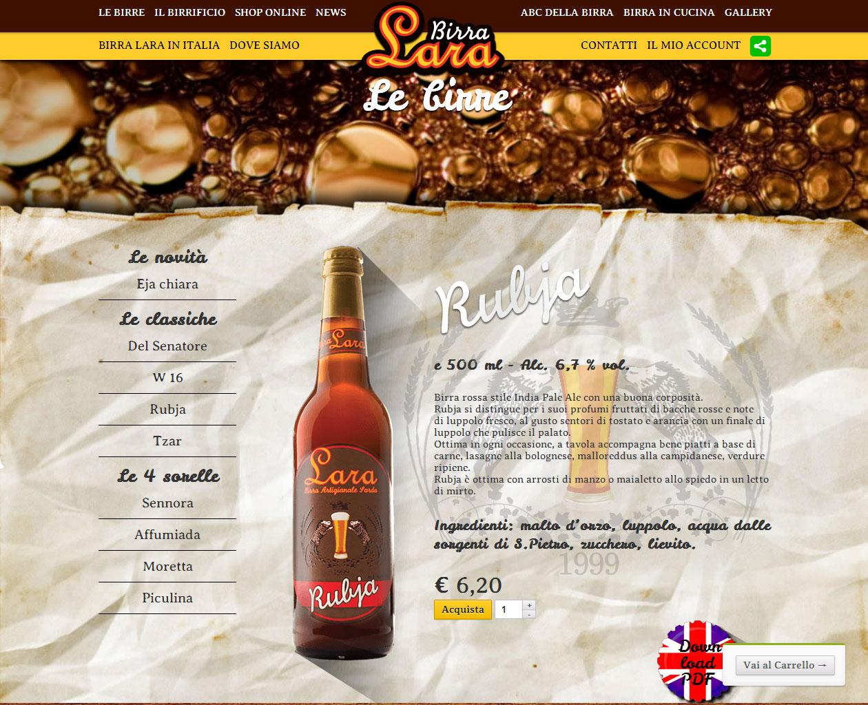 Birrificio artigianale LARA, shop online birra