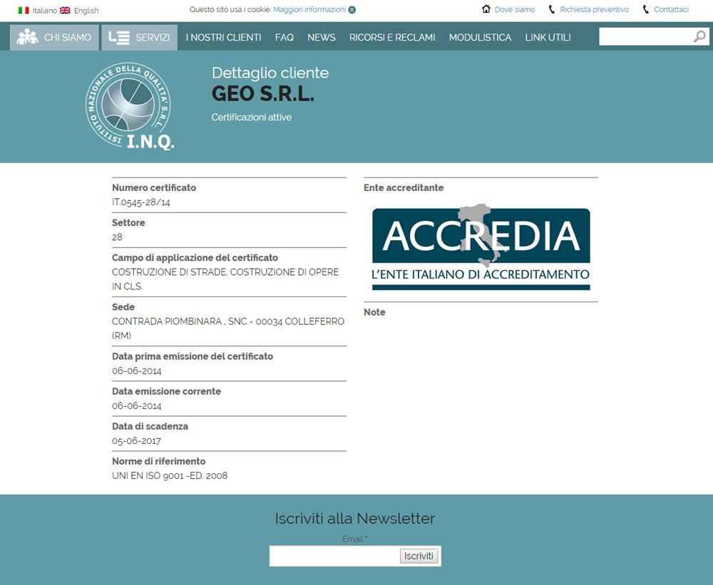 Istituto Nazionale della Qualità, ente di certificazione