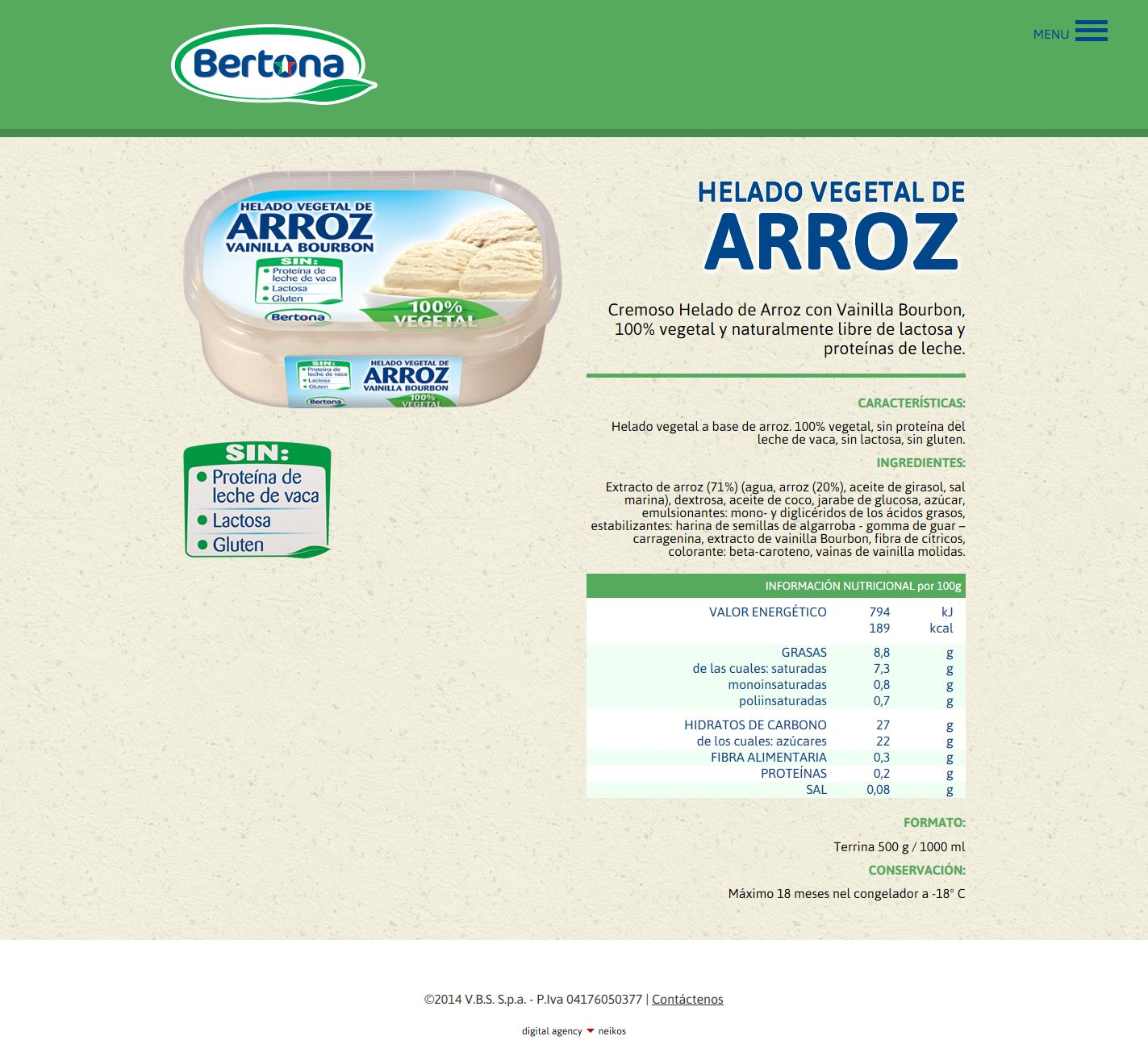 Bertona, sito di prodotto in lingua spagnola