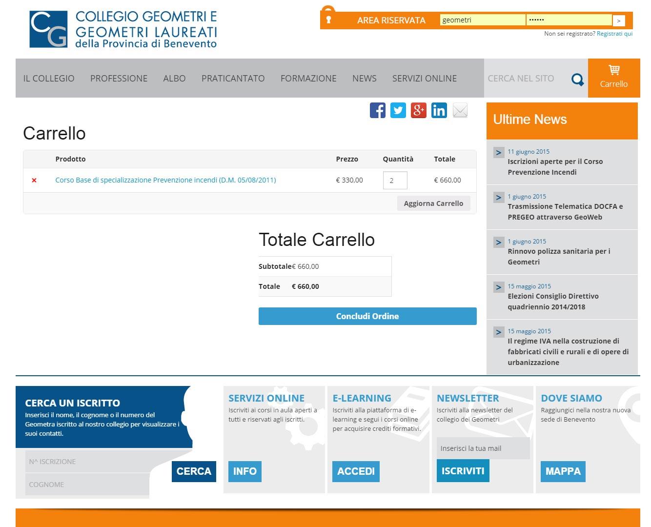 Collegio Geometri Benevento, portale professionisti