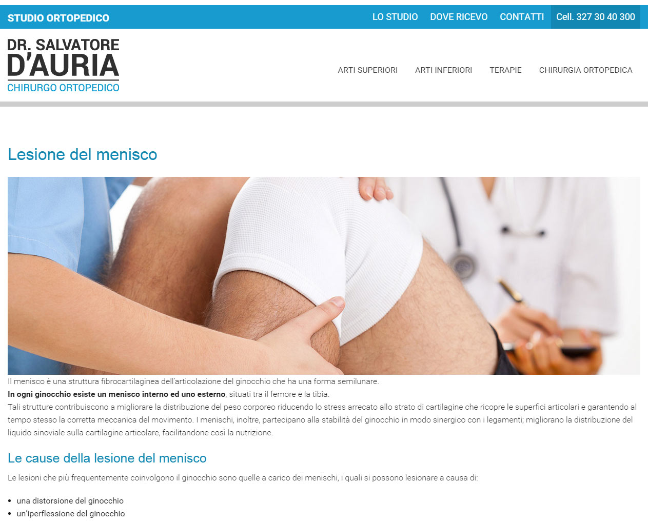 Studio Ortopedico Dr. D'Auria, catalogo online servizi medici