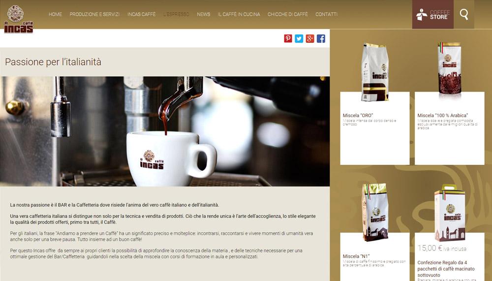 Incas Caffè, ecommerce caffè