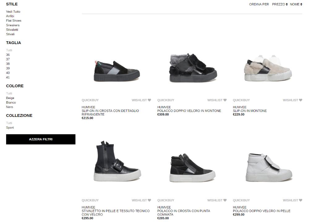 OXS, ecommerce calzature