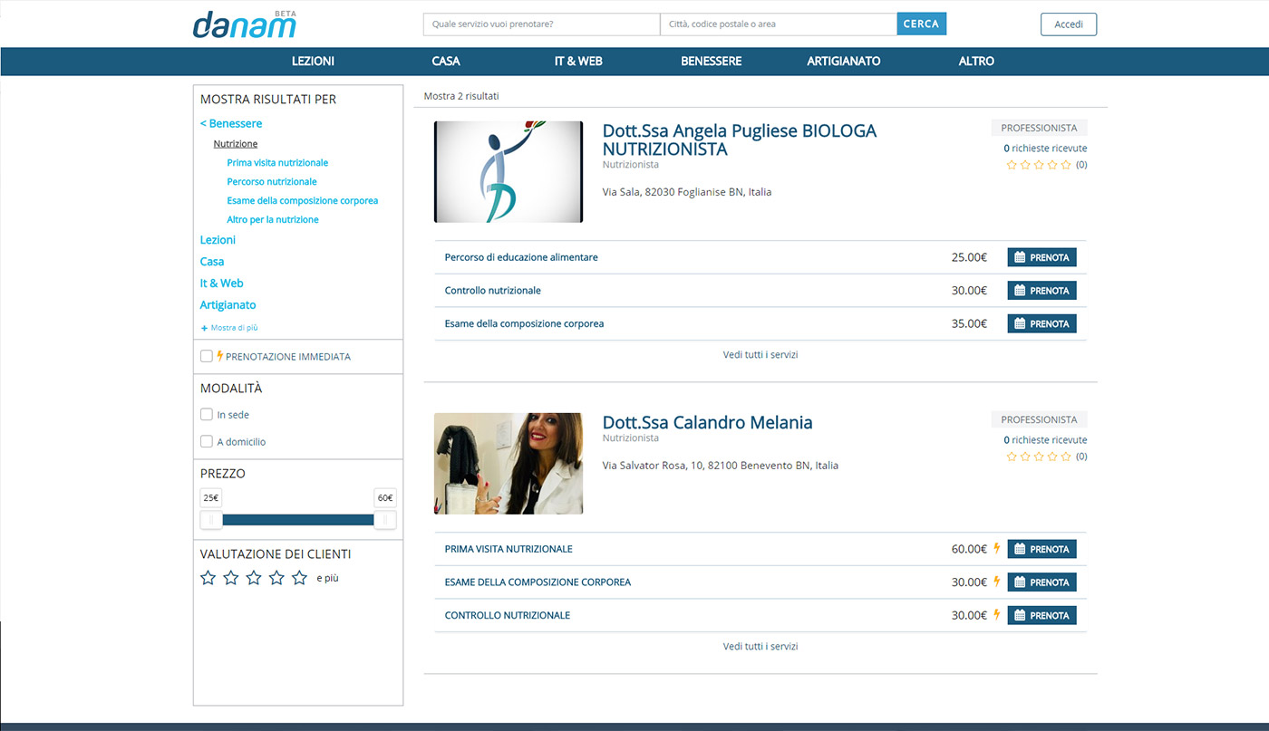 Danam, vendita online di servizi professionali