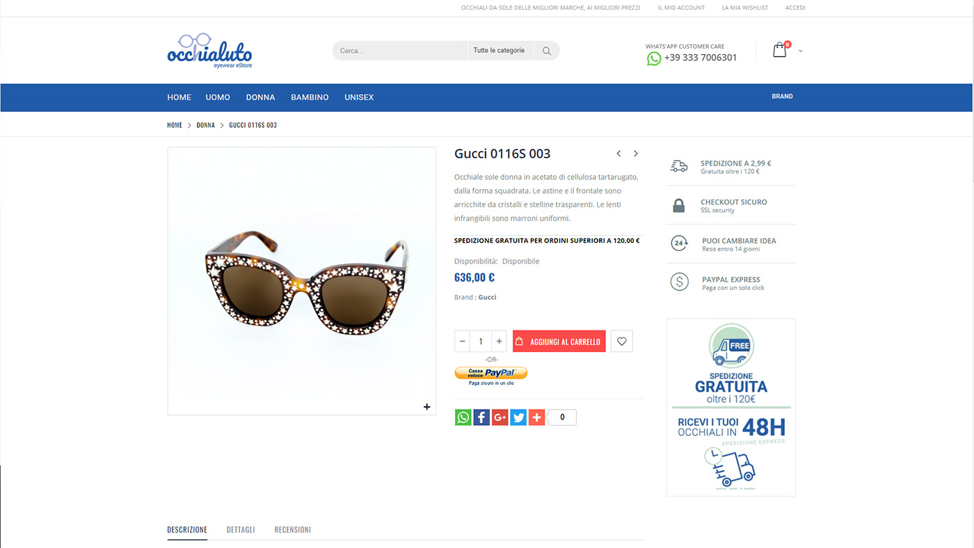 Occhialuto, ecommerce occhiali da sole