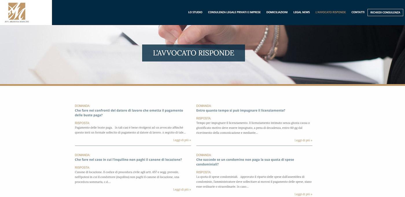 Studio Avv. Arianna Mancini, catalogo online servizi legali