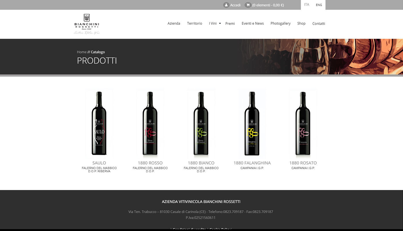 Bianchini Rossetti, winery web e shop