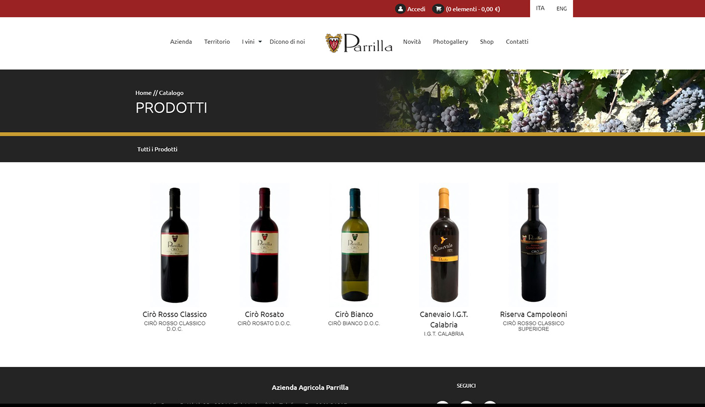 Azienda Agricola Parrilla, winery web e shop