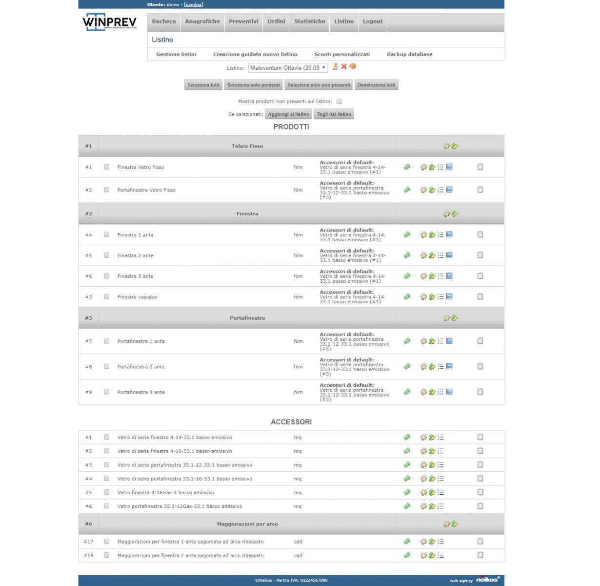 WinPrev, software professionale per la vendita di infissi e serramenti