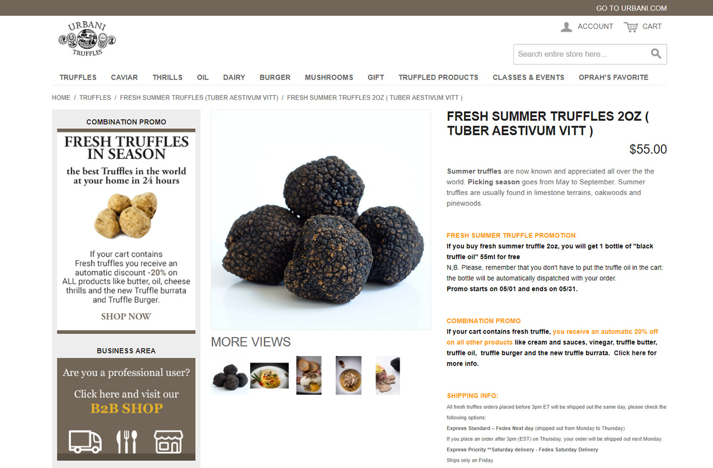 Urbani Truffles USA, ecommerce tartufi