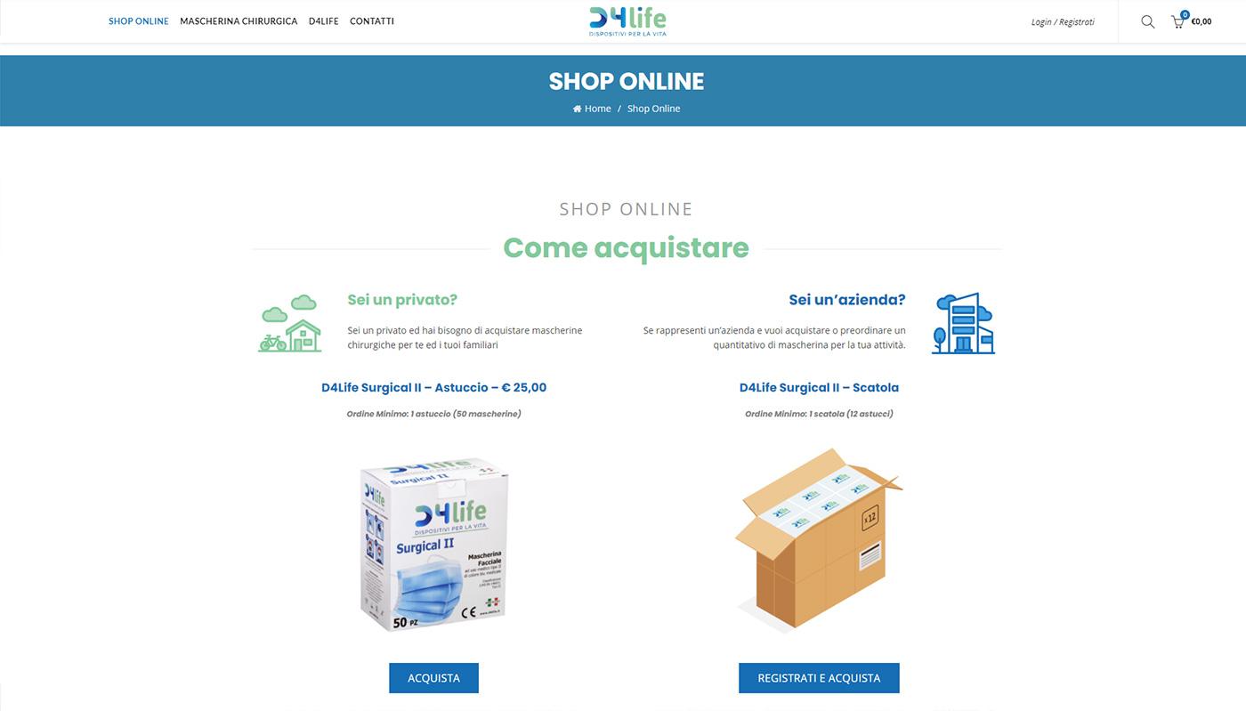 D4life produzione e vendita online mascherine facciali ad uso medico.